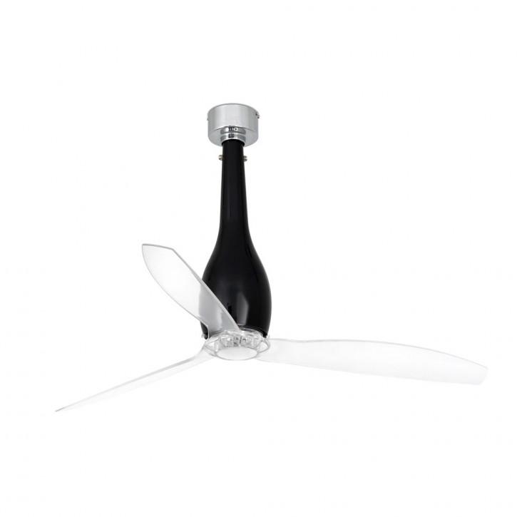 Eterfan Ventilatore da soffitto nero brillante/trasparente con motore DC