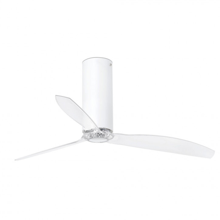 Tube Fan Shiny white/transparent ceiling fan with DC motor