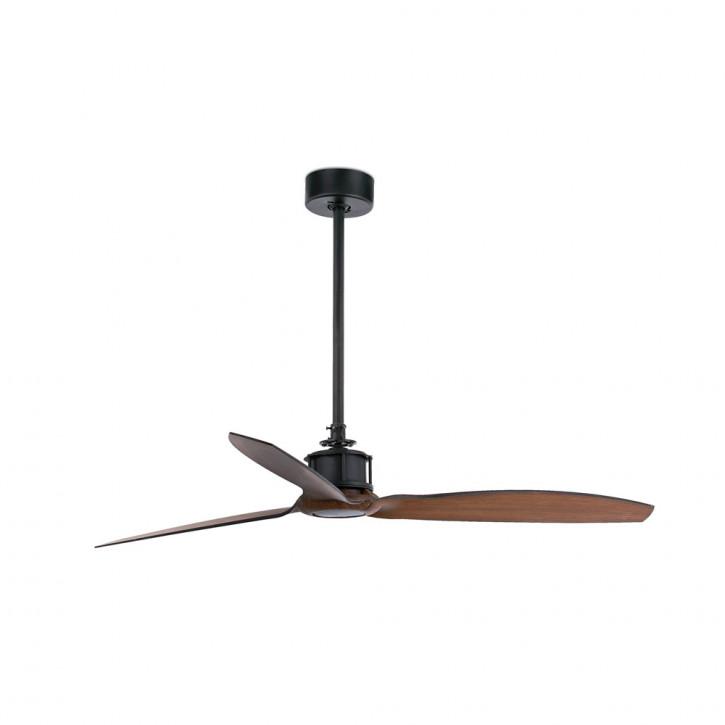 Just Fan Ventilatore da soffitto nero/legno con motore DC