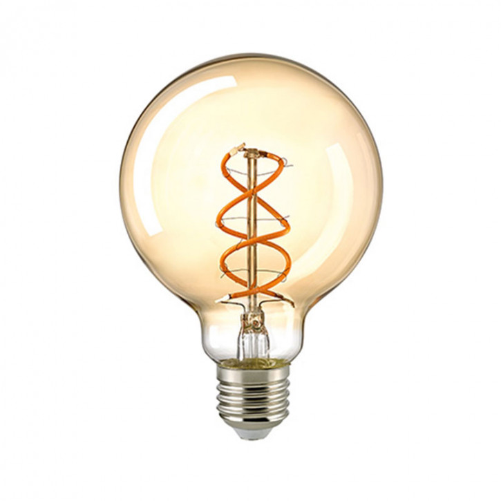 LED Filament Globe Spiral Gold E27 5,5W 250lm 2000K dimmbar