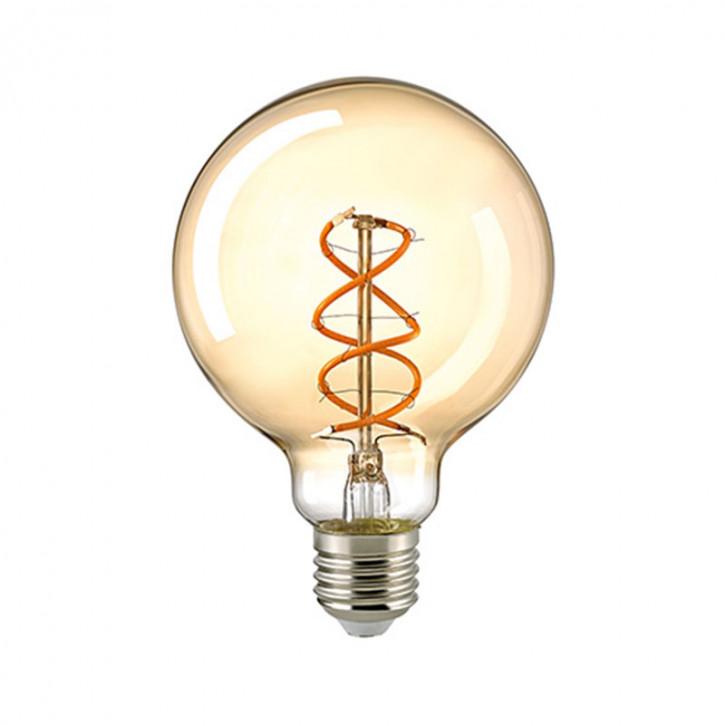 LED Filament Globe Spiral Gold E27 5,5W 250lm 2000K dimmbar