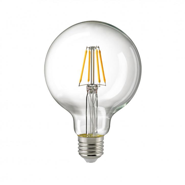 Sigor LED-Glühfaden Globe95 klar E27 4.5W 470lm 2700K CRI>90 dimmbar