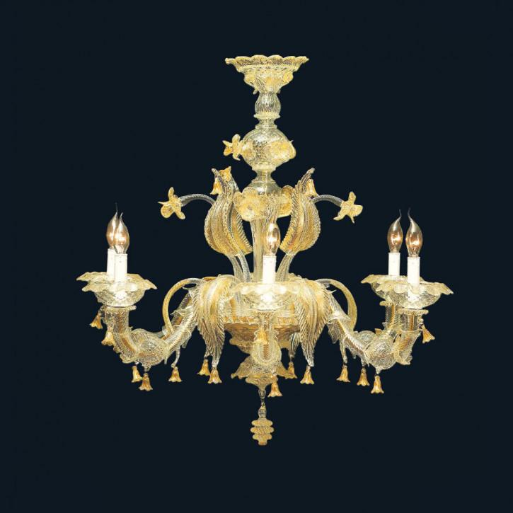 Murano Glas Leuchter mit Blüten und Blättern mit 24K Gold
