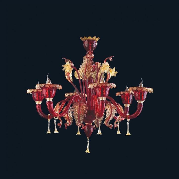 Murano Glas Kronleuchter Rot/Gold