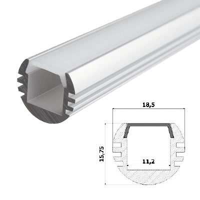 LED-Stripes Profil - 18.5 x 15.75 mm - opale bianco