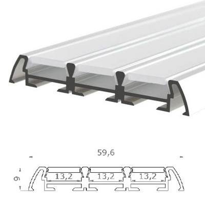LED-Stripes Profil - 59.6 x 9 mm - opal white