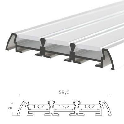 LED-Stripes Profil - 59.6 x 9 mm - blanco opal