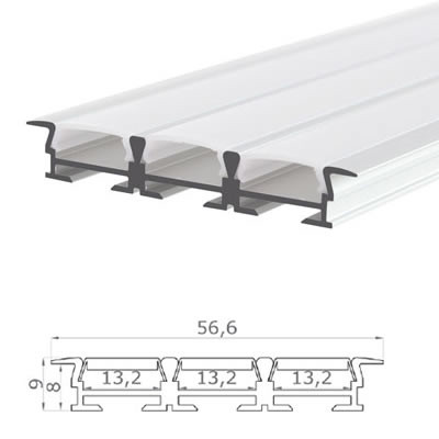 LED-Stripes Profil - 56.6 x 9 mm - opal white