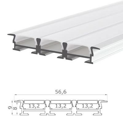 LED-Stripes Profil - 56.6 x 9 mm - blanco opal
