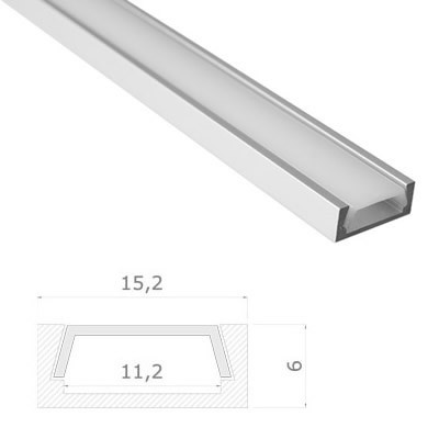 LED Stripes Profile - 15.2 x 6 mm - opal