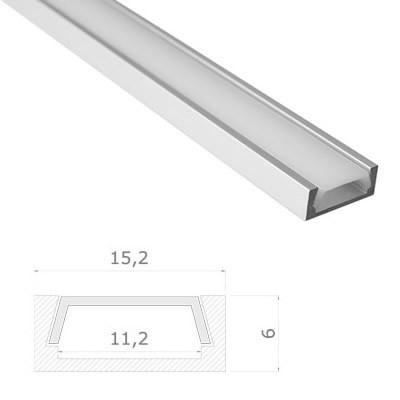 LED Stripes Perfil - 15,2 x 6 mm - opal