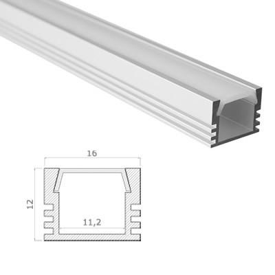 LED Stripes Perfil - 16 x 12 mm - opal