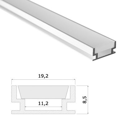 LED Stripes Profile - 19.2 x 8.5 mm - clear