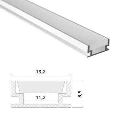 LED Stripes Perfil - 19,2 x 8,5 mm - transparente