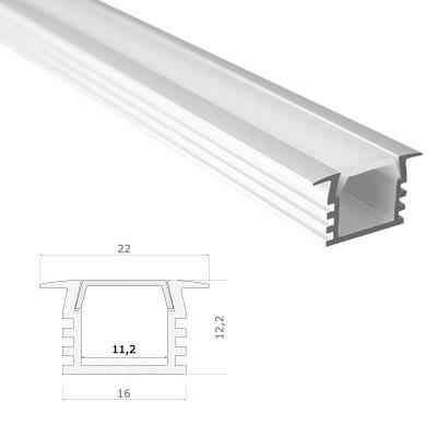 LED Stripes Profile - 22 x 12.2 mm - clear