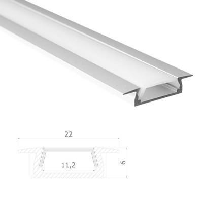 LED Stripes Perfil - 22 x 6 mm - transparente