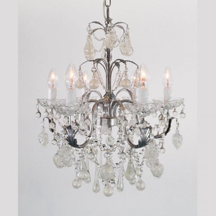 Murano Kronleuchter mit Glasfrüchten mit Silberauflage
