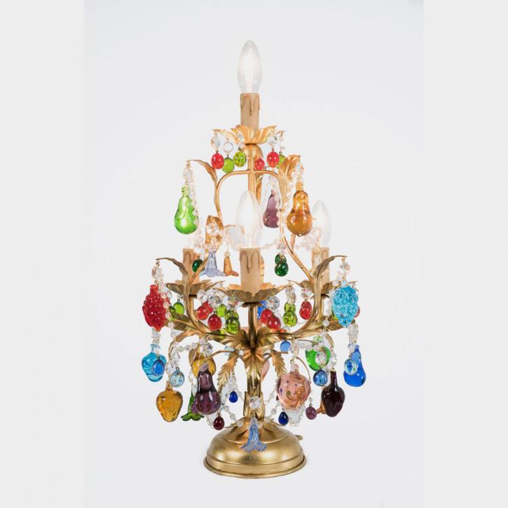 Murano Tischleuchte mit Glasfrüchten