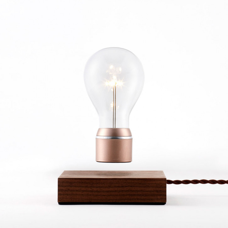 Flyte Buckminster Walnut base Lightbulb with copper cap