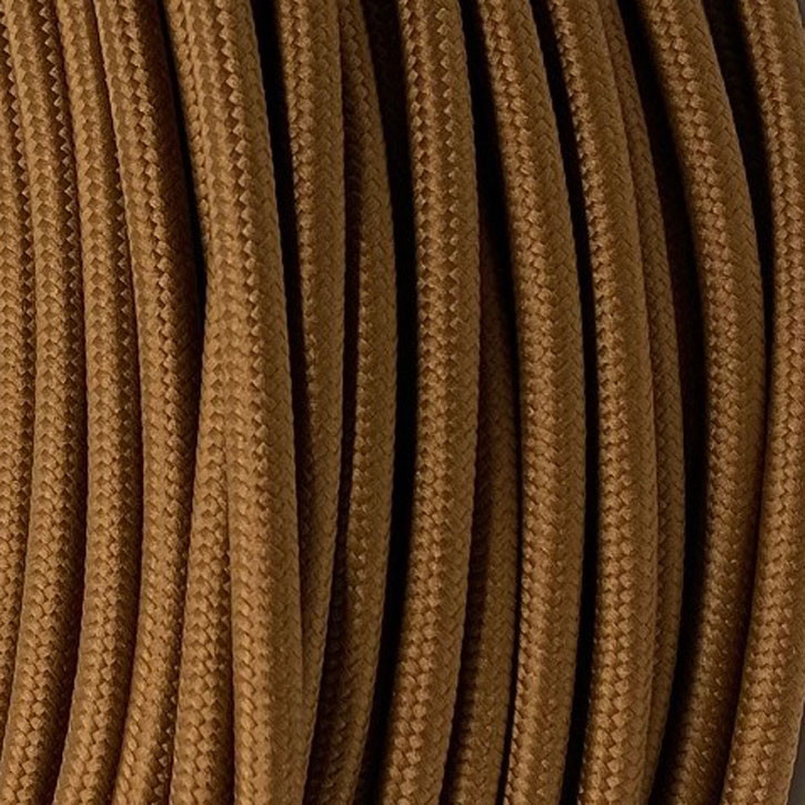 Textile cable 3x0.75mm² cotton leather brown