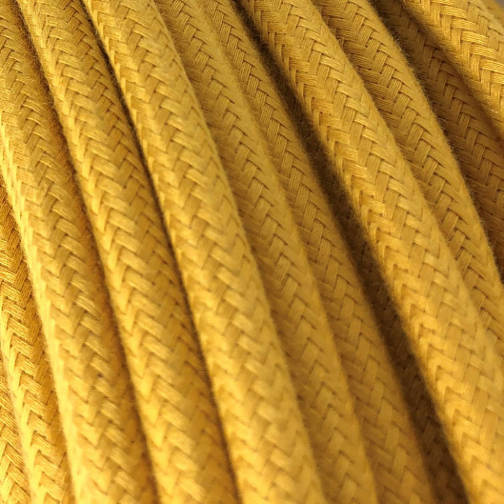 Textile cable 3x0,75mm² cotton yellow mustard