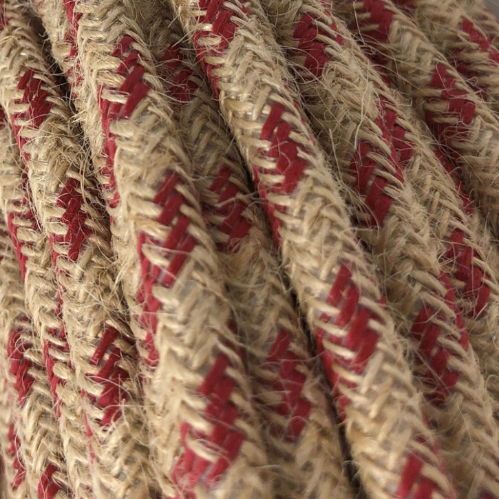 Textile cable 3x0.75mm² natural jute / cherry red