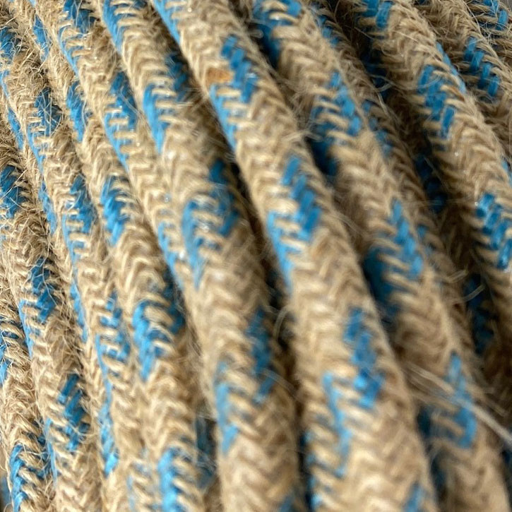 Textile cable 3x0.75mm² natural jute / fabric turquoise