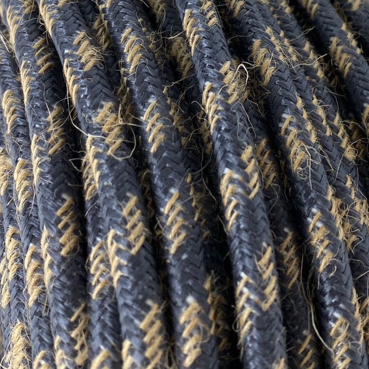 Textile cable 3x0.75mm² natural jute / graphite fabric