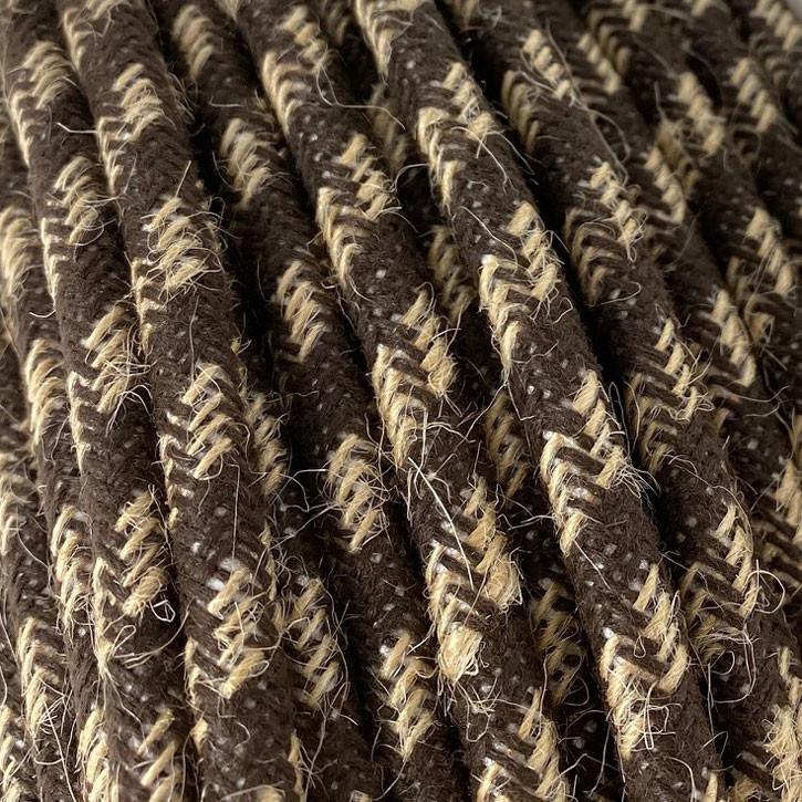 Textilkabel 3x0,75mm² Jute natur / Baumwolle braun