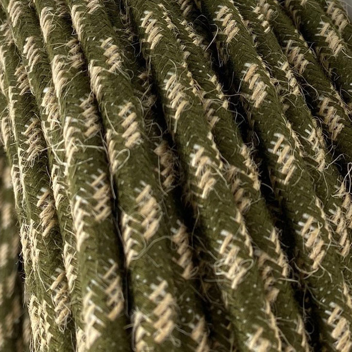 Textile cable 3x0.75mm² natural jute / dark olive