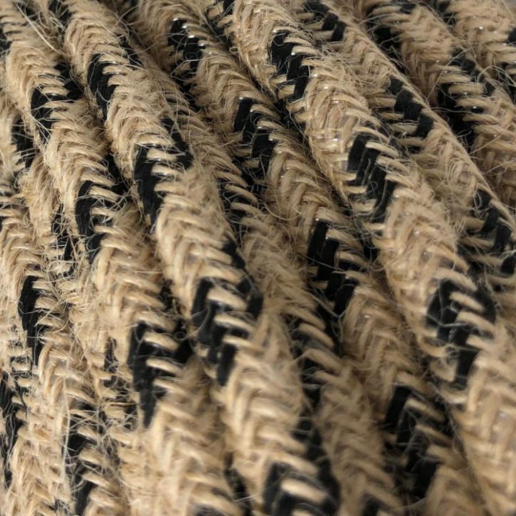 Textilkabel 3x0,75mm² Jute natur / schwarz