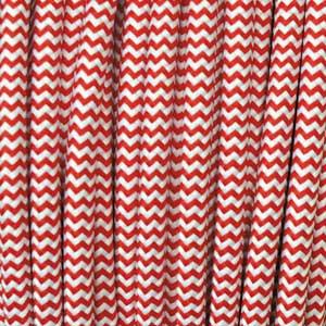Textilkabel 3x0,75mm² weiss/rot