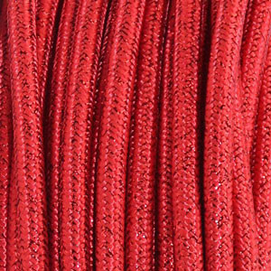 Cable textil 3x0,75mm² lamè rojo