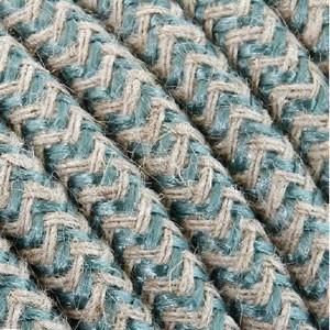 Textilkabel 3x0,75mm² Baumwolle salbei/weiss