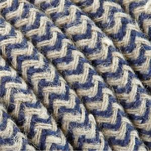 Câble coton 3x0,75mm² Textile bleu/blanc