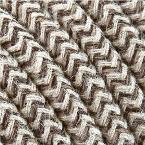 Textile sable/blanc câble coton 3x0,75mm²