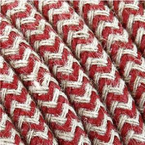 Tessile cavo 3x0,75mm² cotone ciliegia/bianco