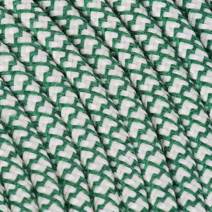 Câble textile 3x0,75mm² coton pétrole / crème
