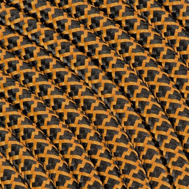 Textilkabel 3x0,75mm² Baumwolle schwarz / whiskey