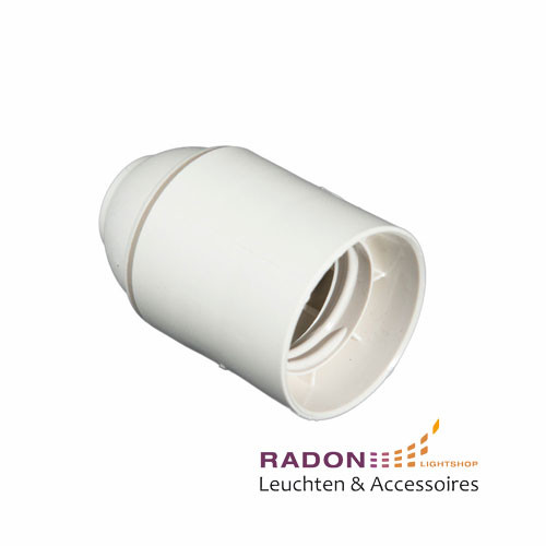 Plastic lamp socket E27 - white, smooth