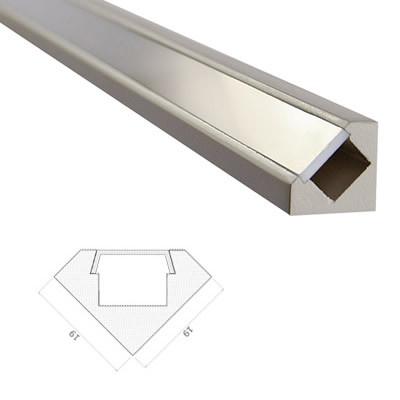 LED Stripes Perfil - 45 ° - 19 x 19 mm - transparente