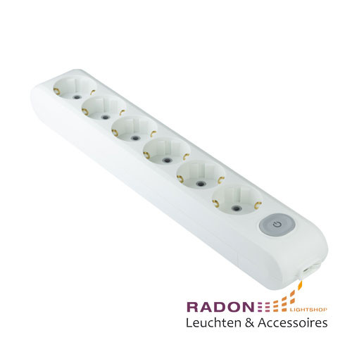6-way socket white with switch