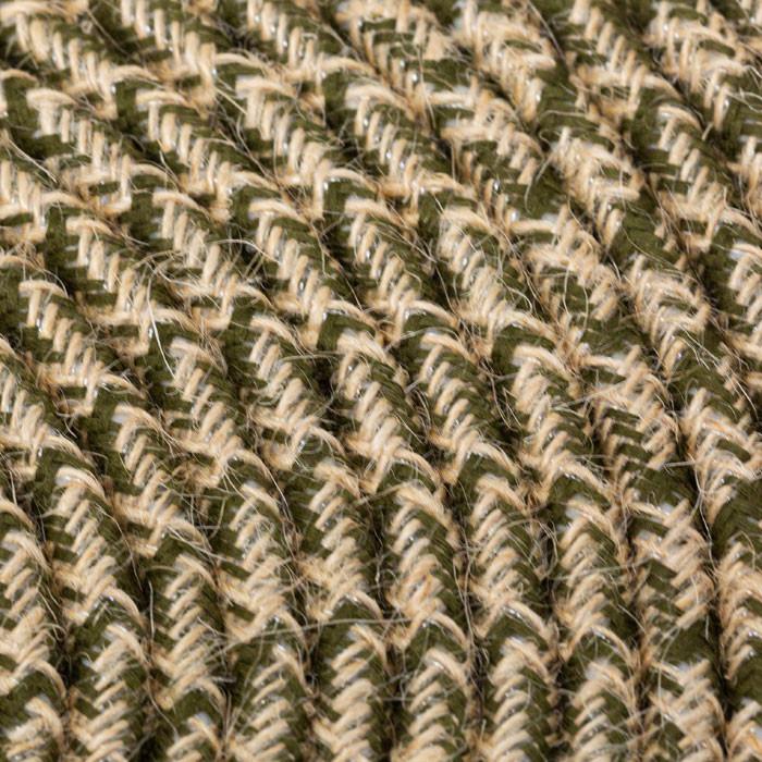 Textilkabel 3x0,75mm² Jute natur / Stoff olivfarben