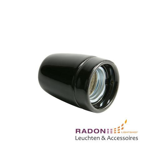 Porzellan Lampenfassung E27 schwarz