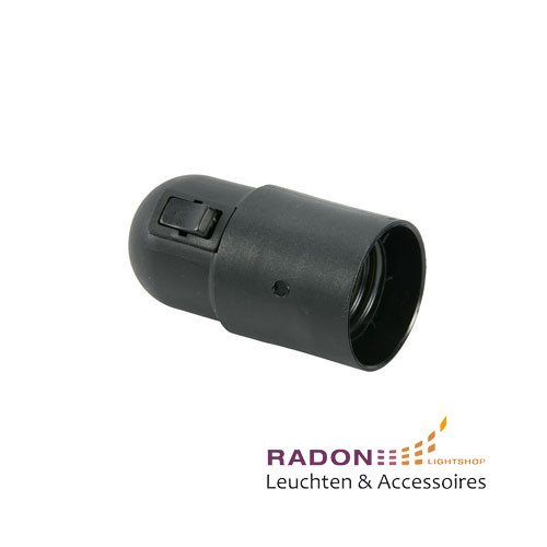 Insulated socket E27 with rocker switch, black