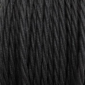 Textiles de algodón negro 3x0,75mm² cable