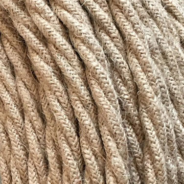 Textile cable 3x0,75mm² natural jute