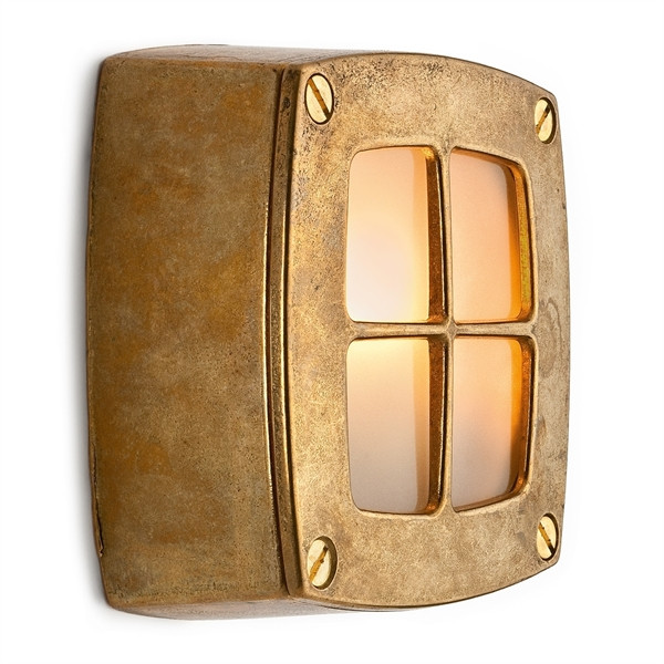 Wall lamp with brass grid