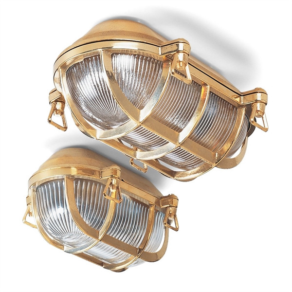 Basket light of polished brass