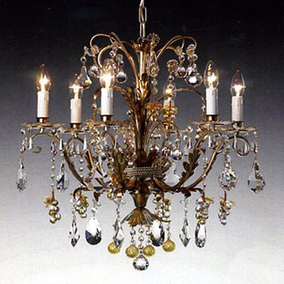 Murano chandelier with gold applications